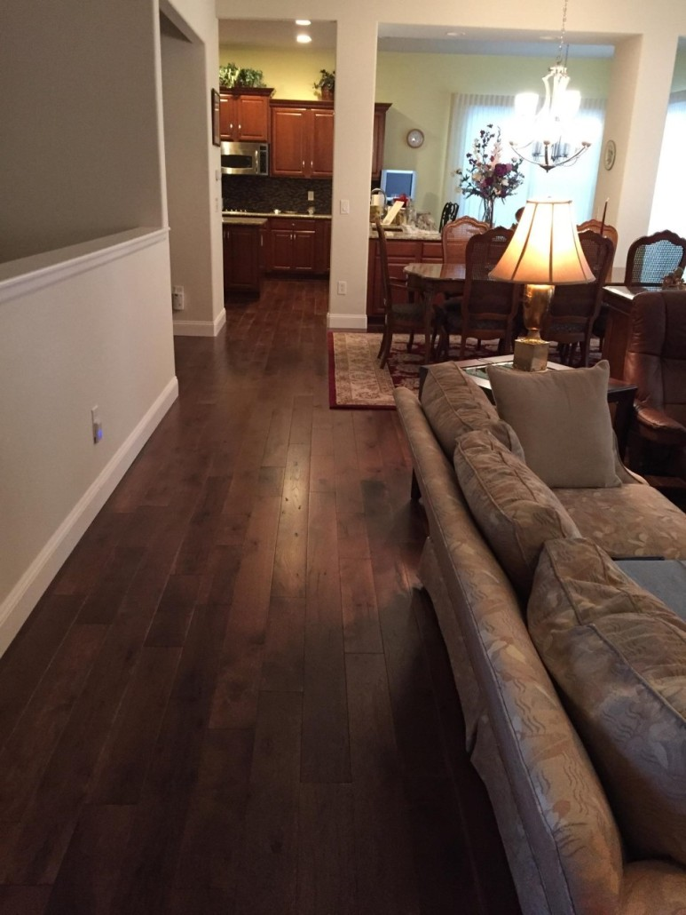 Prefinished Dark Stained Wide Plank Hickory Magnus Anderson